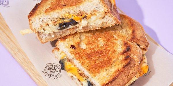 Grilled cheese with zataar sandwich