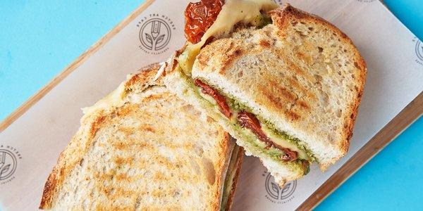 Homemade pesto panini sandwich