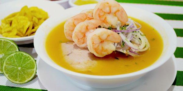 Zuppa di cipolle e gamberetti